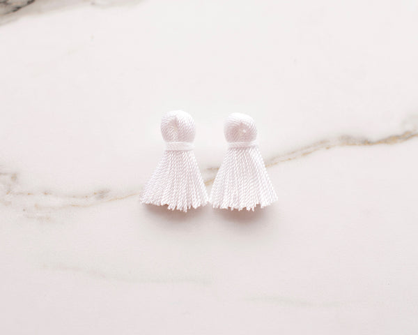 Bright White Mini Tassel Earrings