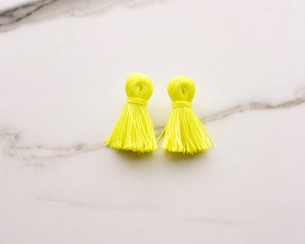 Electric Yellow Mini Tassel Earrings
