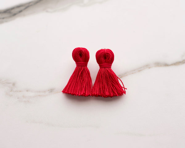 Mini Tassel Earrings in Ruby Red