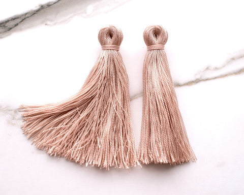 Large Tassel Earrings in Blush Pink
