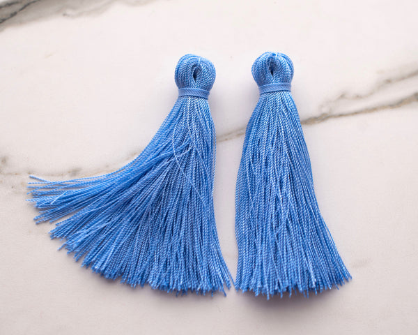 Large Tassel Earrings in Periwinkle Blue