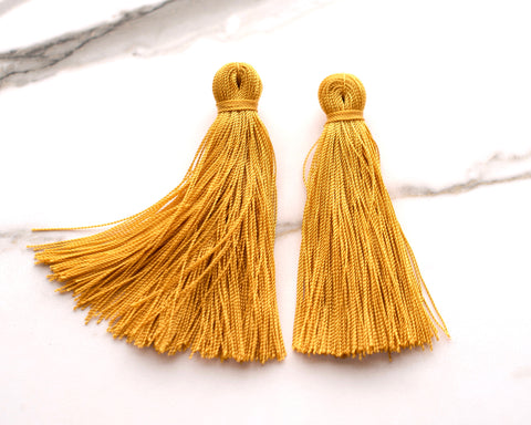 Large Mustard Yellow Tassel Earrings
