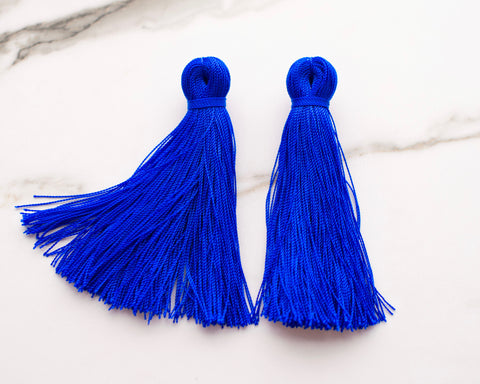 Large Tassel Earrings in Cobalt Blue
