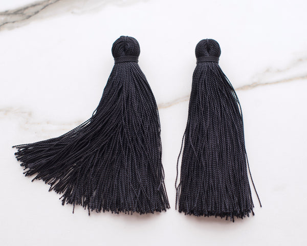 Jet Black Tassel Earrings