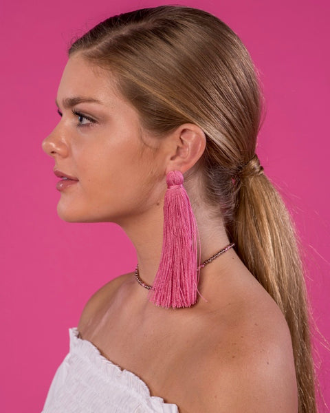 Large Tassel Earrings in Rose Pink