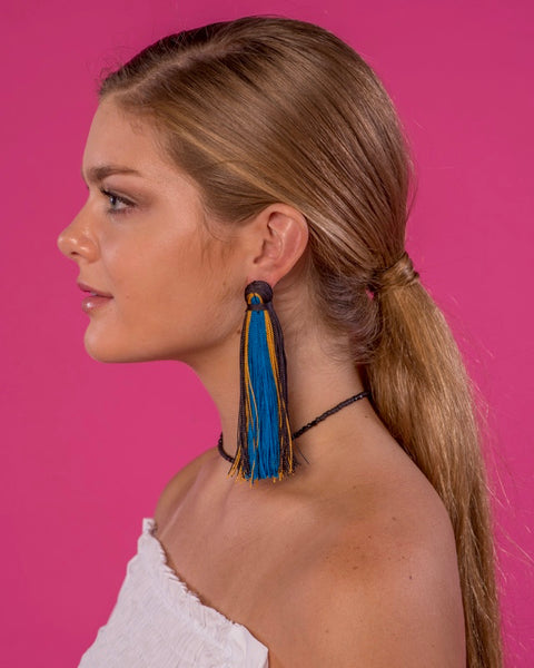Large Tassel Earrings in Cosmic Ombré