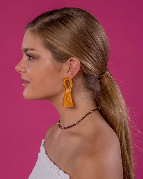 Stevie Loop Earrings in Mustard Yellow