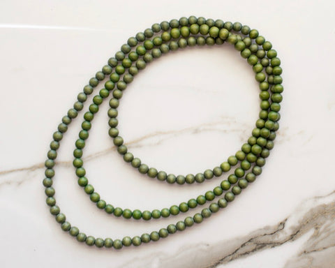 Erykah Double Wrap Necklace in Olive Green