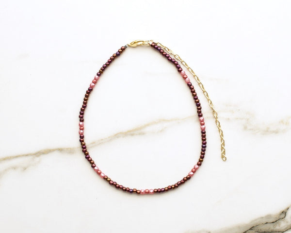Selena Beaded Choker in Iridescent Wine