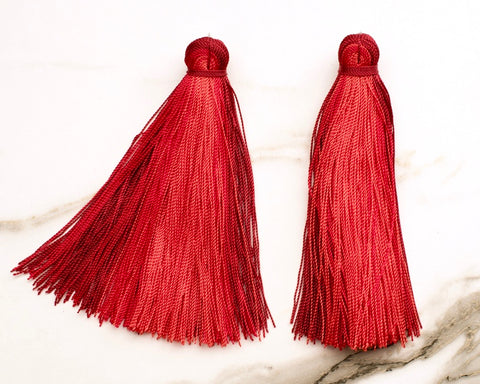 Large Tassel Earrings in Brick Red Ombré