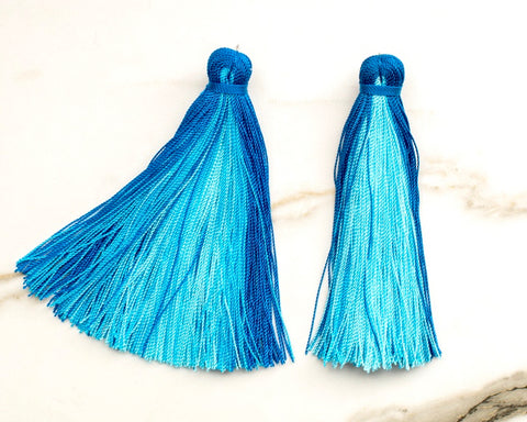 Large Tassel Earrings in Ocean Blue Ombré