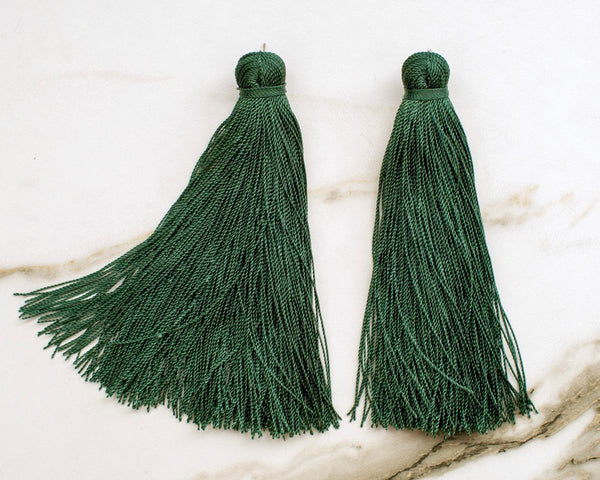 Large Tassel Earrings in Hunter Green