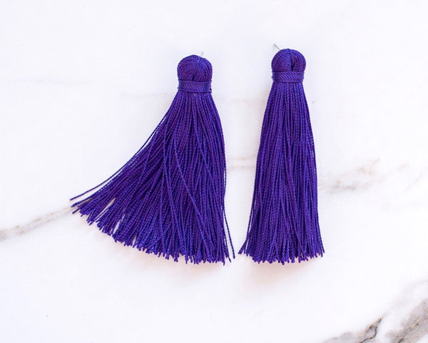 Medium Tassel Earrings in Royal Purple