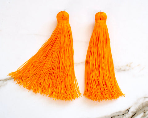 Large Tassel Earrings in Embers Orange