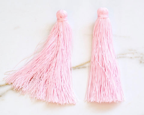 Large Tassel Earrings in Pastel Pink