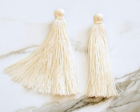 Large Tassel Earrings in Ivory Cream