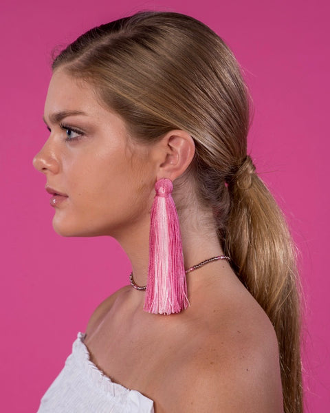 Large Tassel Earrings in Sugar Pink Ombré