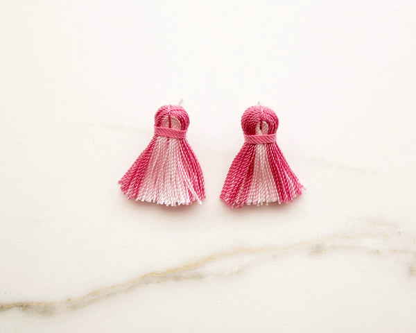 Mini Tassel Earrings in Sugar Pink Ombré