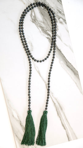 Pine Green Double Tassel Necklace