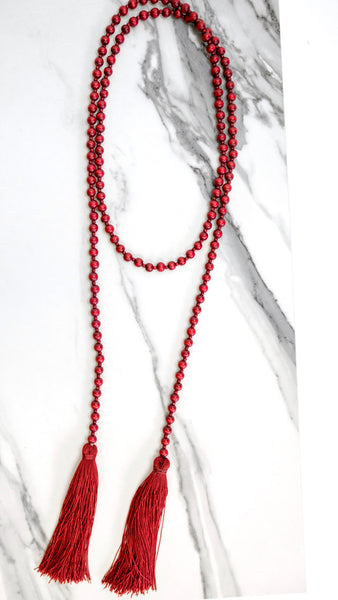Merlot Red Double Tassel Necklace