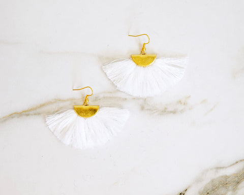 Fanfare White Tassel Earrings