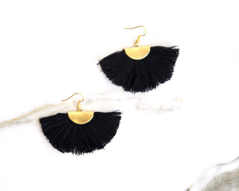 Fanfare Black Tassel Earrings