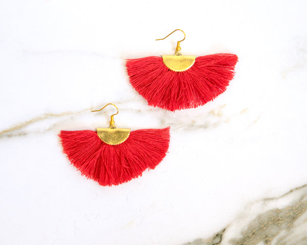 Fanfare Red Tassel Earrings