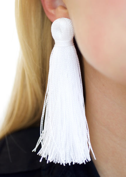 Bright White Tassel Earrings