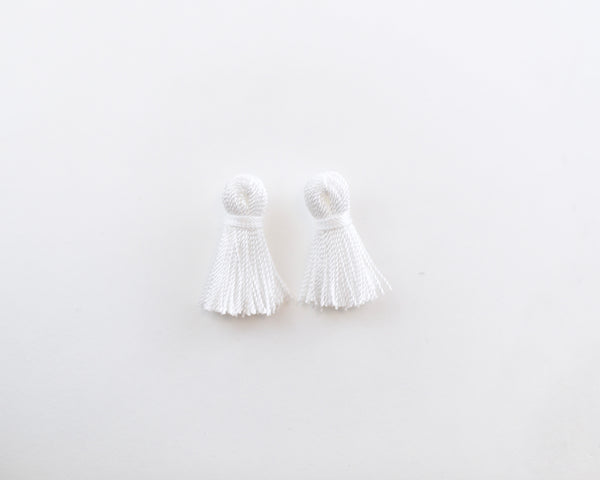 Mini Tassel Earrings in Bright White