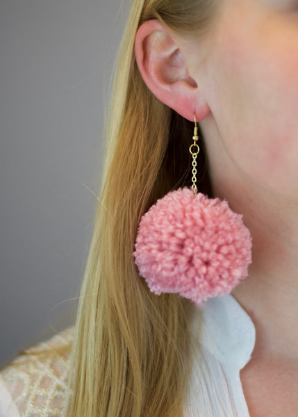 Blush Pink Pom Pom Earrings