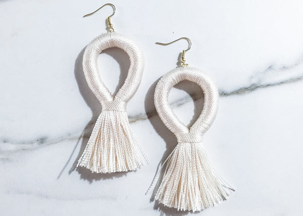 Stevie Loop XL Earrings in Ivory Cream