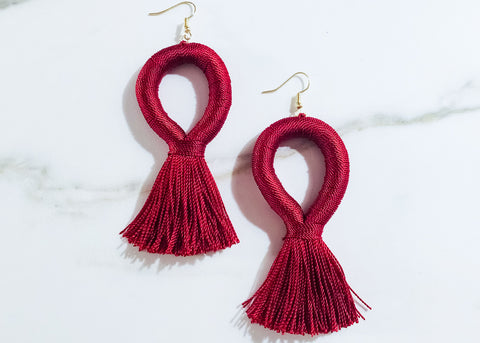 Stevie Loop XL Earrings in Merlot Red
