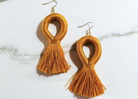 Stevie Loop XL Earrings in Mustard Yellow