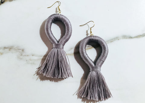 Stevie Loop XL Earrings in Slate Gray