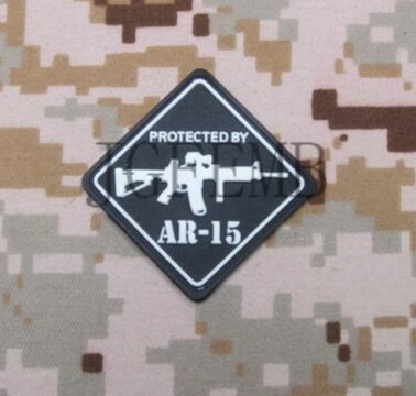 Protected by AR-15 3D PVC Patch - Bearded Lion