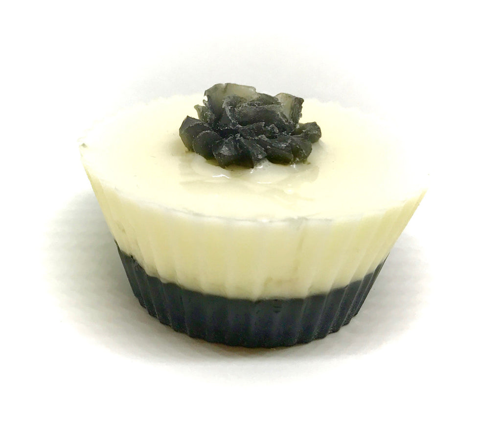 White Cupcake Soap with Black Rose - SoapyMania