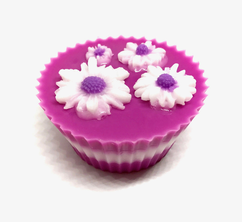 Pink Cupcake Soap with Daisies - SoapyMania