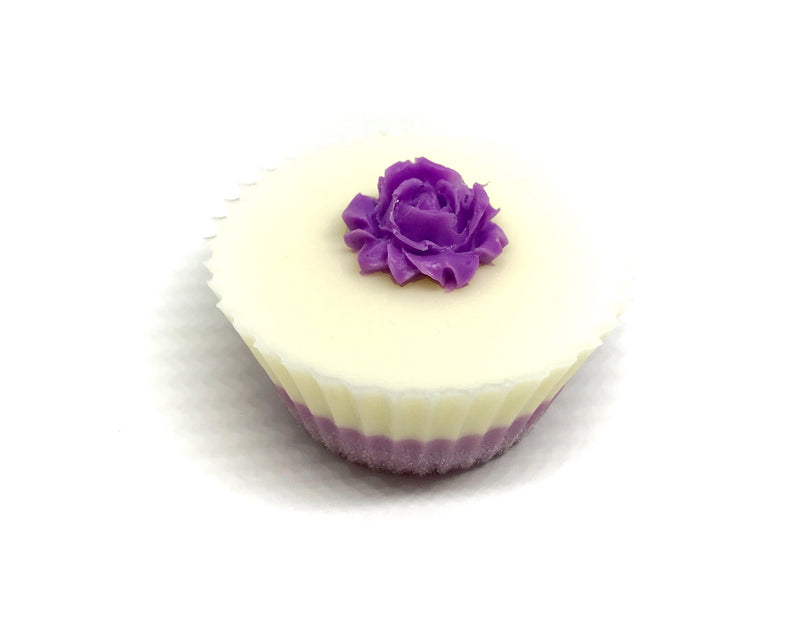 White Cupcake Soap with Pink Rose - SoapyMania