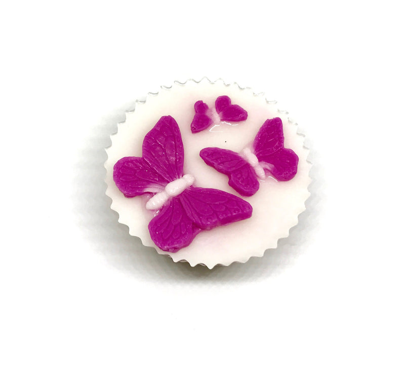 White Cupcake Soap with Pink Butterflies - SoapyMania