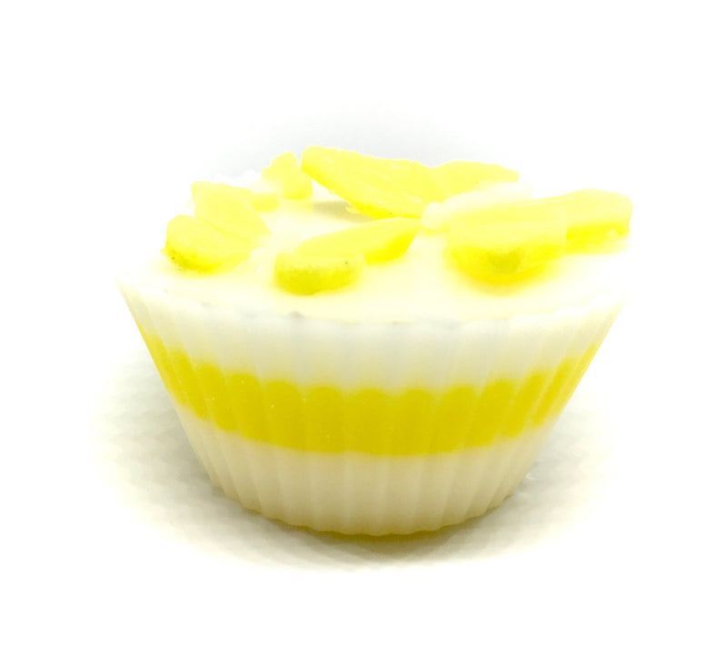 White Cupcake Soap with Yellow Butterflies - SoapyMania