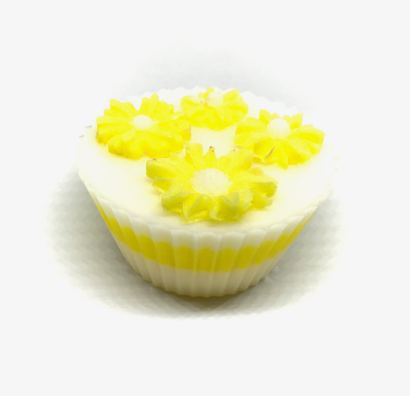 White Cupcake Soap with Yellow Daisies - SoapyMania