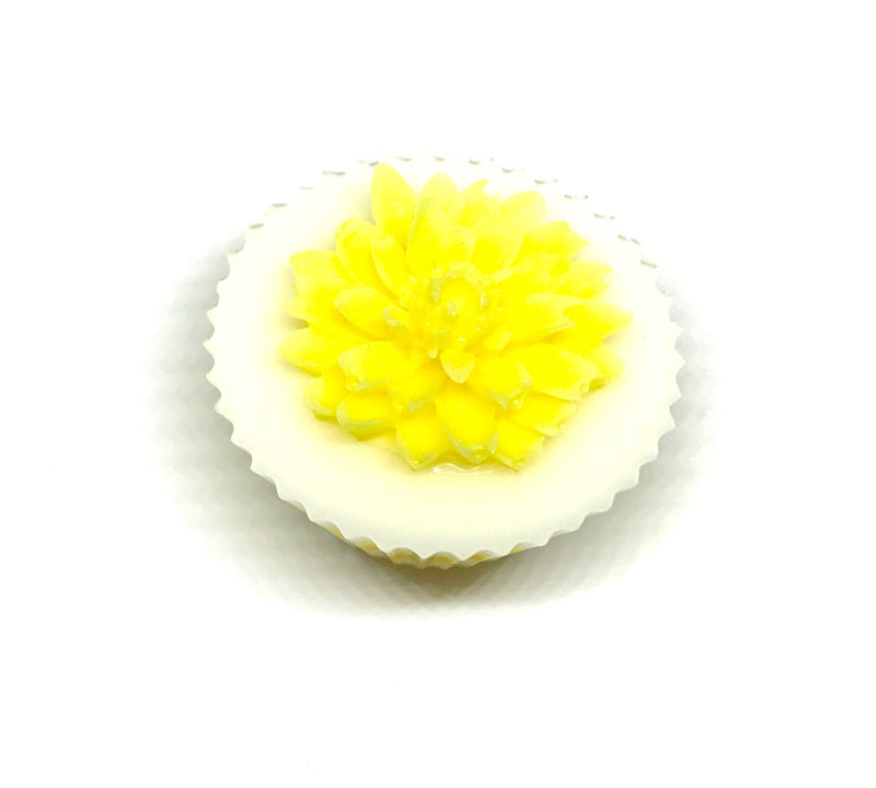 White Cupcake Soap with Yellow Dahlia - SoapyMania
