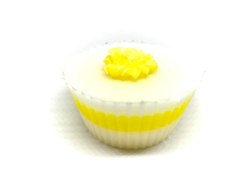 White Cupcake Soap with Yellow Rose - SoapyMania