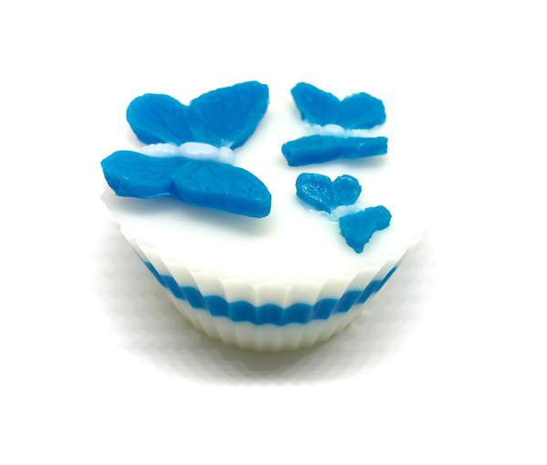 White Cupcake Soap with blue Butterflies - SoapyMania