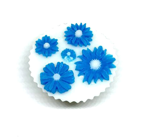 White Cupcake Soap with Blue Daisies - SoapyMania