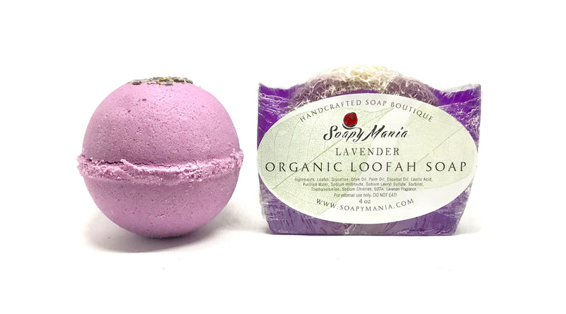 Lavender Bath Bomb and Loofah Soap Set - SoapyMania