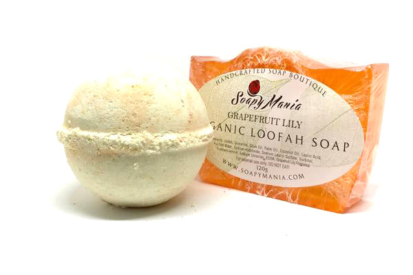 Grapefruit and Lily Set (Large Bath Bomb and Loofah Soap) - SoapyMania
