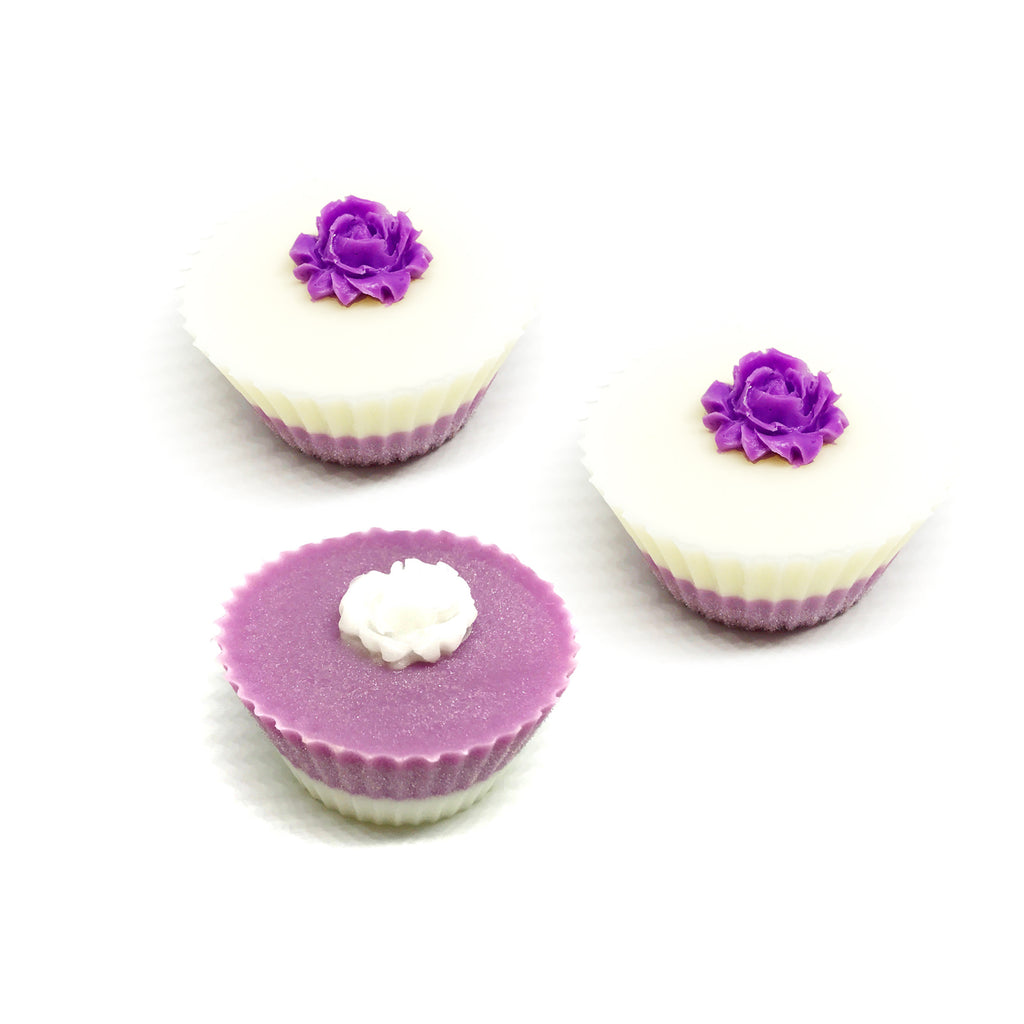 Three Pink Cupcakes with Roses Gift Box Set - SoapyMania