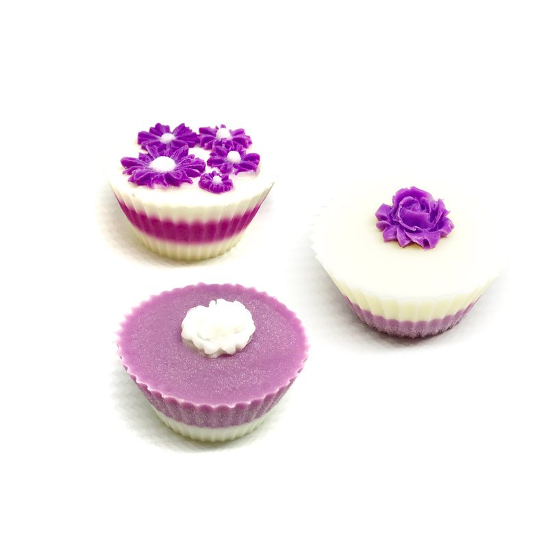 Three Pink Cupcakes with Flowers Gift Box Set - SoapyMania