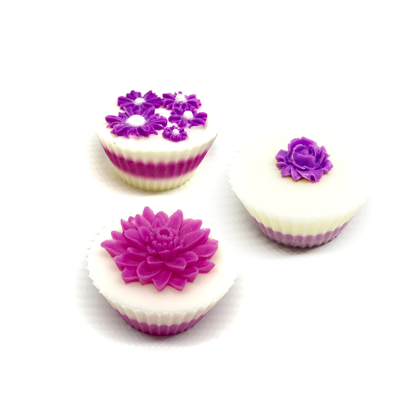 Hot Pink Flowers - Three Cupcakes Gift Box Set - SoapyMania